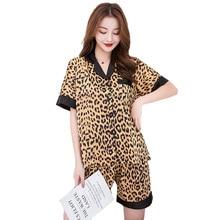 2019 New leopard pajamas women summer print silk satin woman sleepwear pyjama set short sleeve casual home pijama mujer