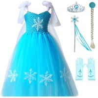 Dresses Girls Princess Anna Elsa Cosplay Costume Kid's Party Dress Kids Girls Clothes Snowflake Ball Gown Blue