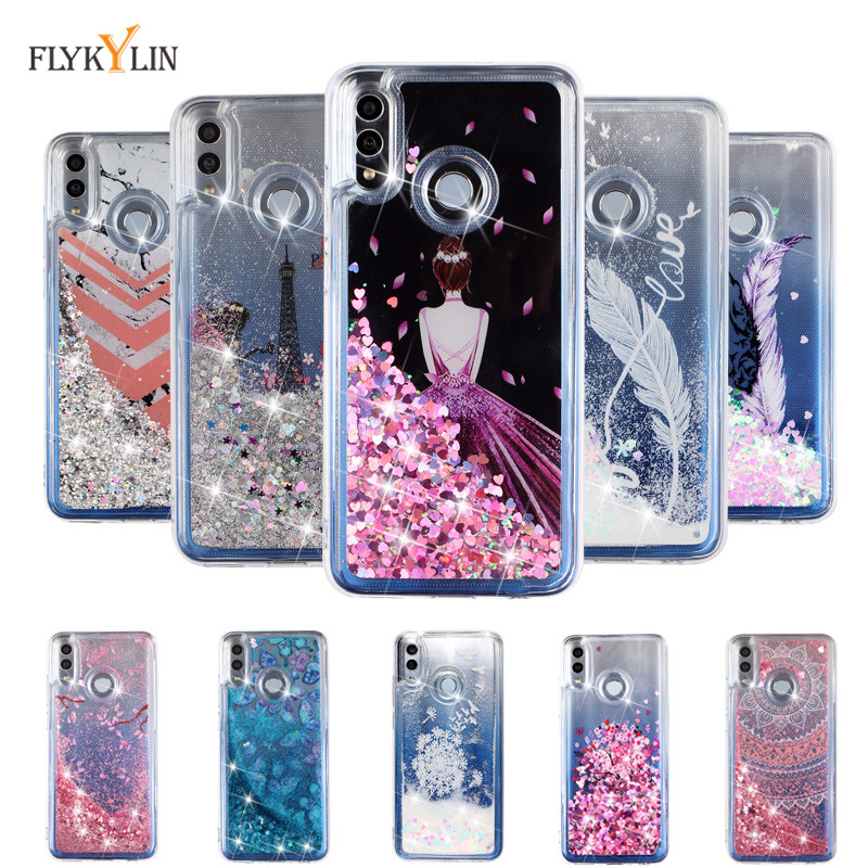 Liquid case on For Huawei Honor 9 Lite case cover For Coque Huawei Honor 10 10 Lite Glitter Dynamic Silicone Soft TPU Phone case image