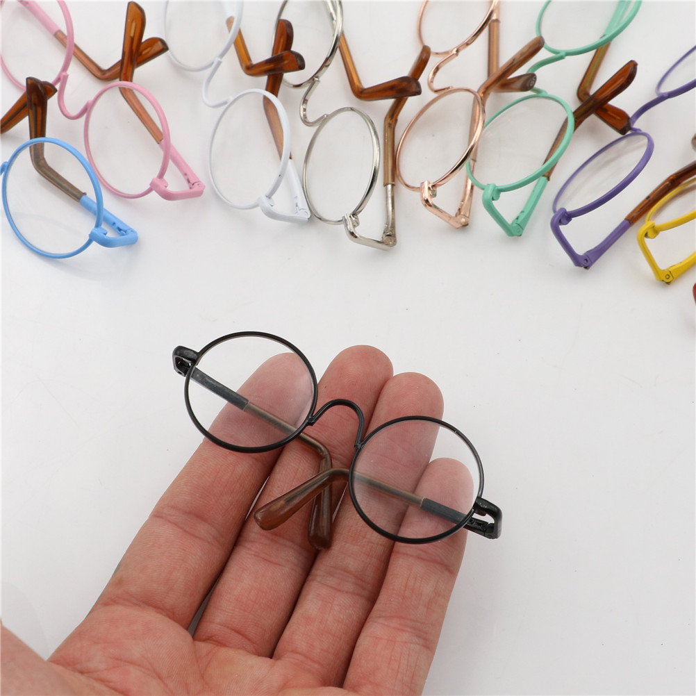 colorful <font><b>glasses</b></font> sunglasses Doll Accessories round-shaped Round <font><b>glasses</b></font> suitable for <font><b>BJD</b></font> blythe doll as for girl dolls image