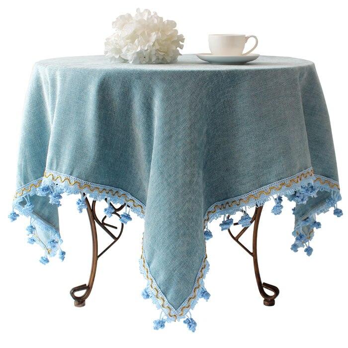 Синий Средиземноморский стиль сада Европейский полноценно Скатерть льняная круглая скатерть кофе