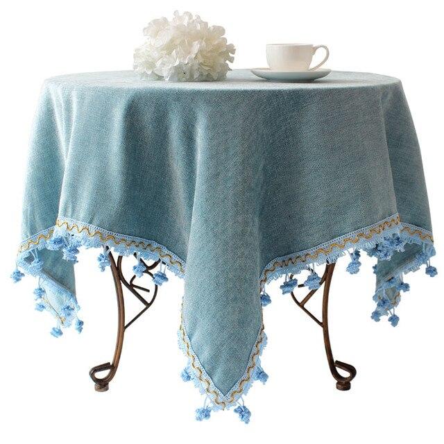 Blue Mediterranean garden style European high-grade linen tablecloth round coffee table cloth