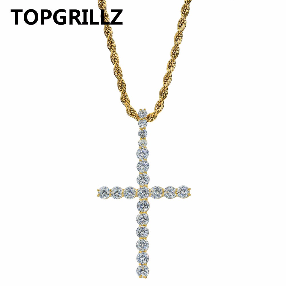 TOPGRILLZ Hip Hop Cross Pendant Necklace Micro Pave AAAA+ Cubic Zirconia Egyptian Style Iced Out Necklace 24