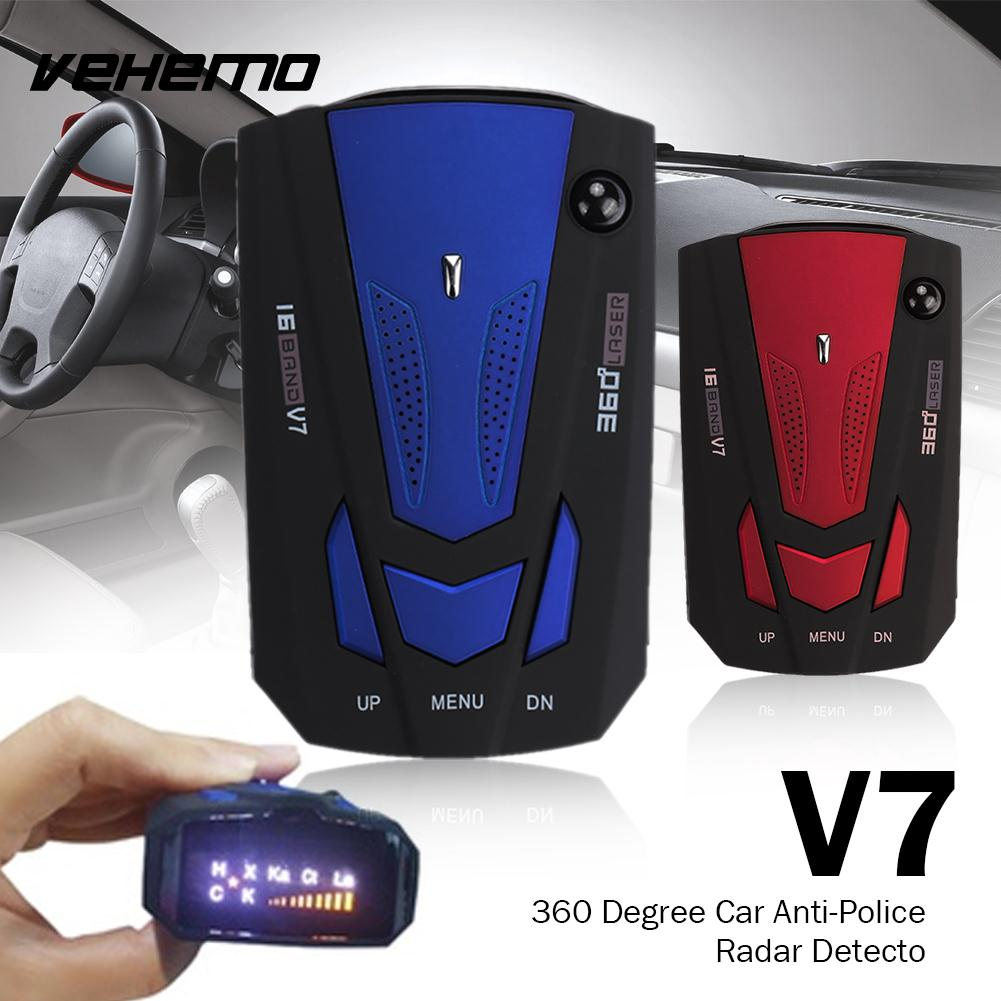 Vehemo V7 Car Radar 16 Band Scanning Speed Control Detector Universal Voice Alert Warning Tracker Drive Safely Detector