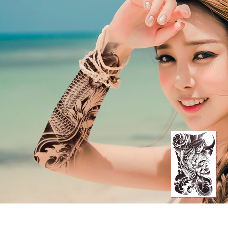 Us 273 30 Offmanzilin 5pcsset Waterproof Temporary Tattoos Fish Stickers Transfer Sleeve Tattoo Supplies For Men Women Kids Gift T366 370 In