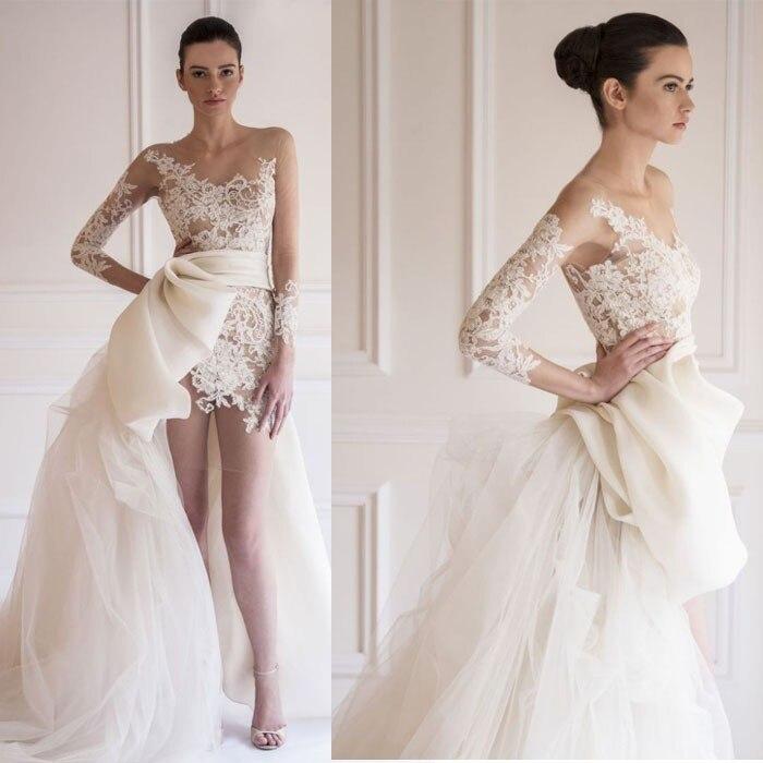 Saudi arab design wedding dresses asymmetrical scoop for Wedding dress detachable sleeves