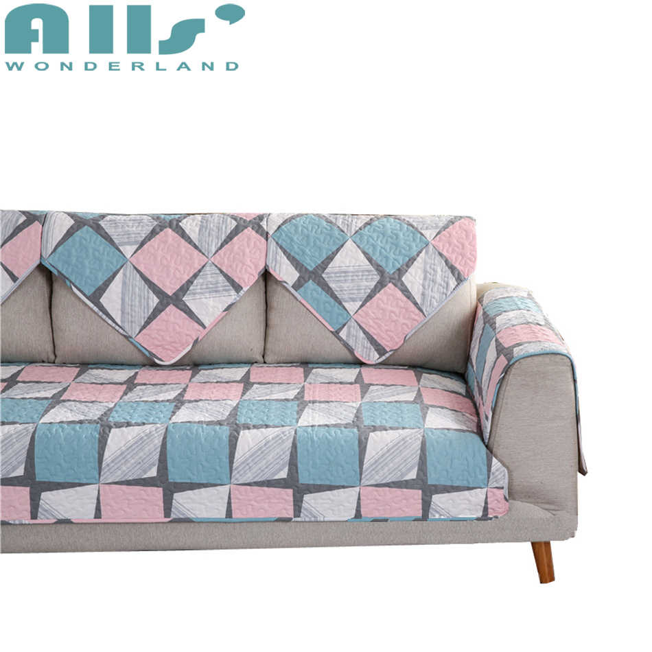 Marvelous 1Pc Plaid Sofa Cover 100 Cotton Pink And Blue Couch Slipcover For Living Room Modern Design Universal And Cheap Sofa Protector Pdpeps Interior Chair Design Pdpepsorg