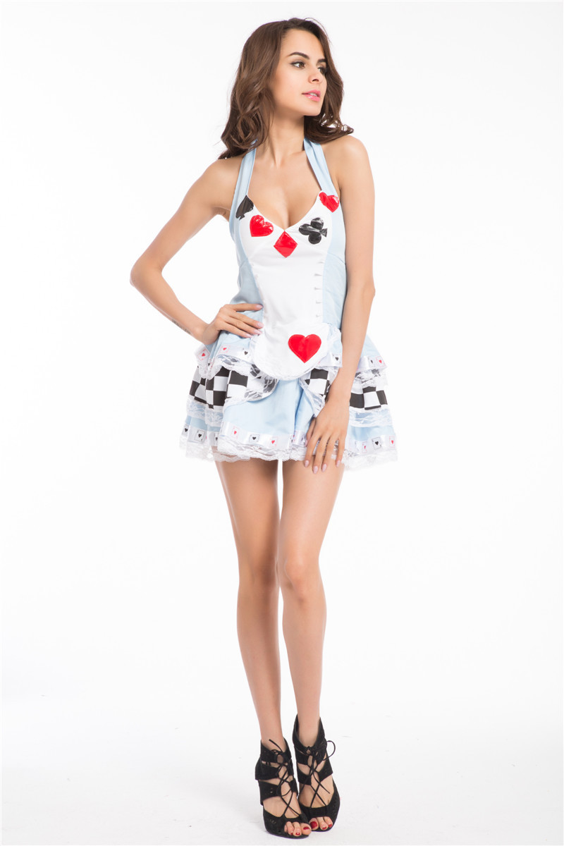 FREE SHIPPING <font><b>ALICE</b></font> <font><b>IN</b></font> <font><b>WONDERLAND</b></font> <font><b>COSTUME</b></font> <font><b>SEXY</b></font> WOMEN Halloween Outfits Fancy Dress image