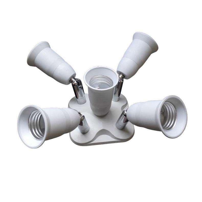 5 in 1 Adjustable E27 Base Light Bulb Adapter Lamp Holder Socket Splitter