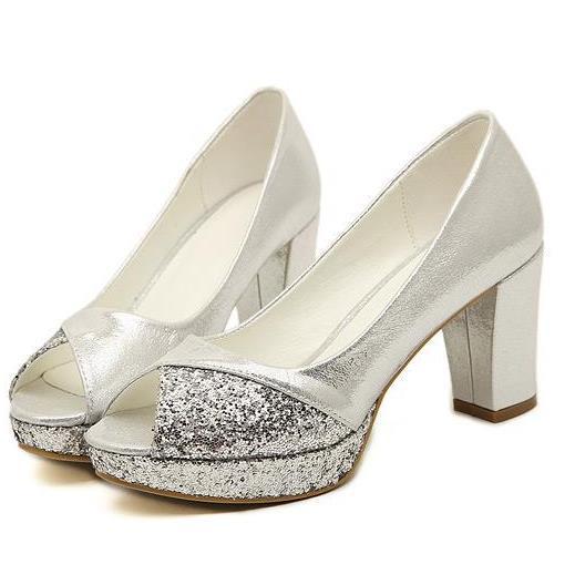 Elegant thick heel open toe office lady shoes rustic gentle women ...