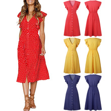 Women V Neck Ruffle Sleeve Fabala Front Button Holiday Polka Dot Ladies Casual Party Midi Dress Summer Beach Button Sundress ruffle strap button front palazzo jumpsuit