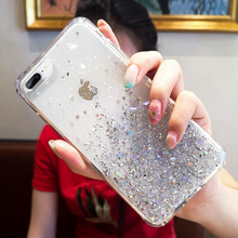 Transparent Bling Starry Sky Phone Case for iPhone X XR XS Max 7 8 6 S 6S Plus Glitter Crystal Sequins Soft Silicone Back Cover