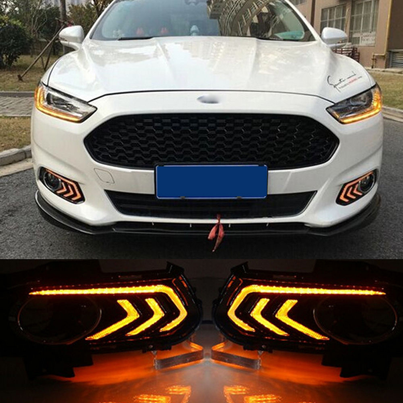 castaleca 1 Pair LED Daytime Running Fog Lights for Mondeo Fusion 2013-2016 white yellow ice blue DRL turn signal mode lamp