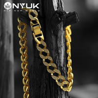 NYUK Kristall Stein Big Kubanischen Kette 76 cm Gold Gefüllt Schmuck Miami Curb Kubanischen Kette Hip Hop Schmuck Männer Goldene Silber 16 MM SN052