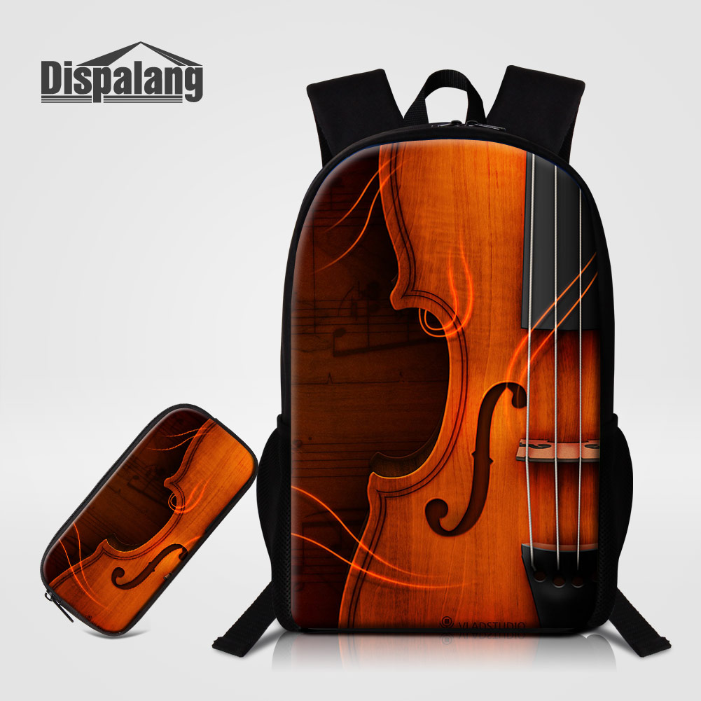 Men's Bags Dispalang 2 Pcs/set Children School Bags For Primary Violin Design Backpacks Pencil Case For Kids Bookbags Mochilas Escolar Pack For Sale