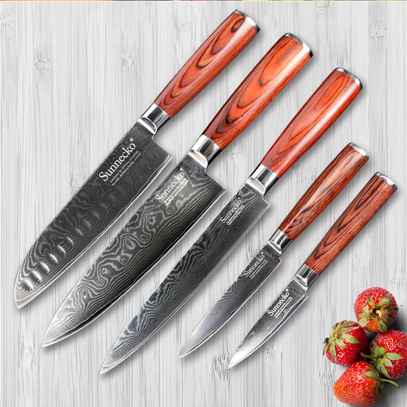 SUNNECKO 5 PZ Coltelli Da Cucina Set di Utilità Paring Chef Knife 73 Strati di Damasco Santoku Acciaio Affettatrice Taglierina Legno Pakka maniglia