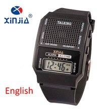 Hombres y Mujeres simples Reloj Hablar Hablar Inglés Ciegos Electrónico Digital Relojes Deportivos Para La Gente Mayor