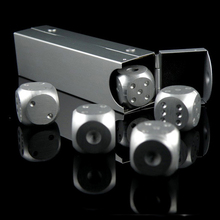 5pcs Dice Set Quality Aluminium Alloy Poker Dice Silver Gold Portable Dominoes Metal Dice Party Drinking Game Xmas Gifts truth or dare drinking dice