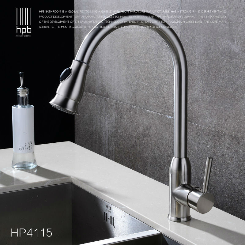 HPB Brass Pull Out Spray Rotary Deck Mounted Hot And Cold Water Kitchen Mixer Tap Pb-free Sink Faucet torneira cozinha HP4115 hpb brass pull out spray rotary brushed kitchen faucet sink mixer tap single handle deck mounted hot and cold water hp4114