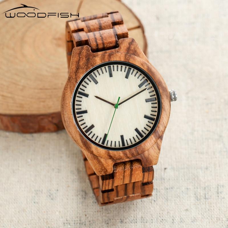 WOODFISH Wooden Watch for Men Full Zebra Designer Quartz Watches 22mm Watch Band Retro Wood Wristwatches With Gift Box relojes