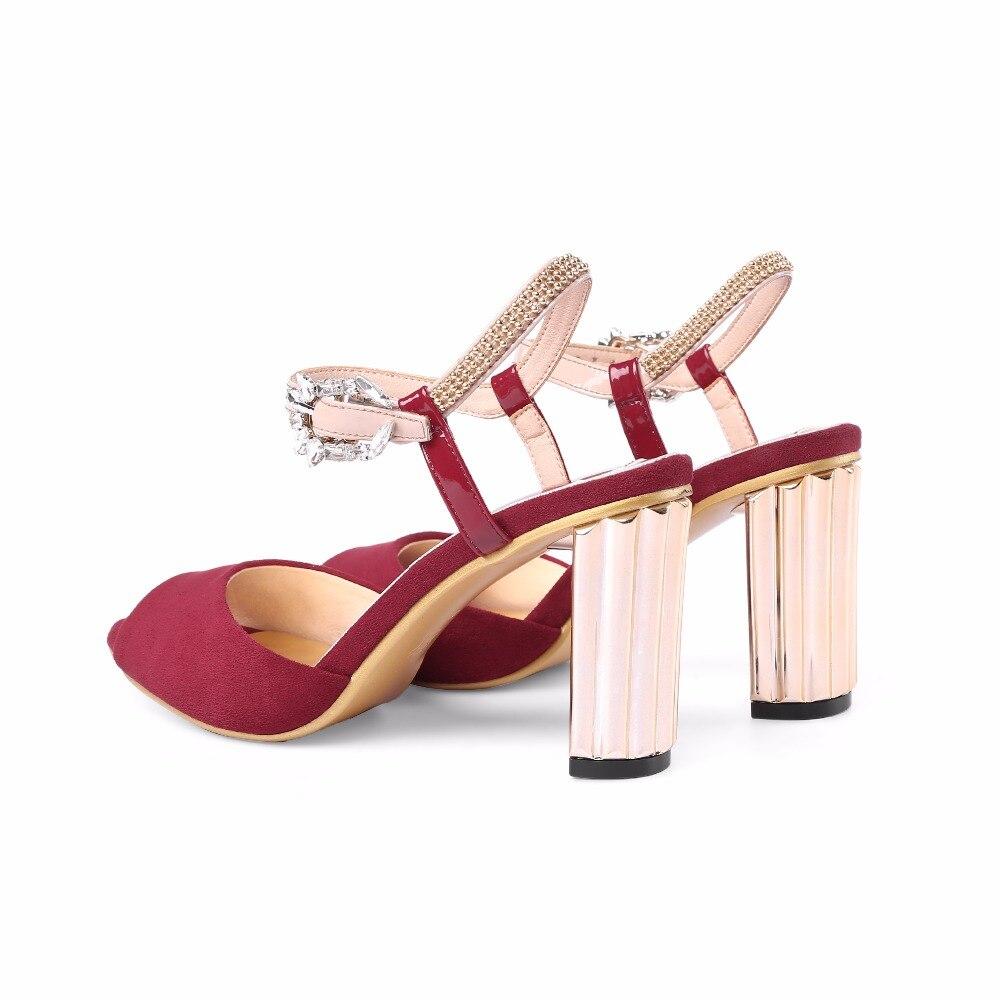D'été 8 Peep Sangle Talons Bourgogne Boucle Arden Chaussures Cm Nouveau Black Chunky Pour 2018 Haute Furtado red De Sandales Orteil Mode Dames Femme qW8WgE4