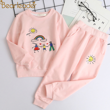 Girl Cartoon Print Sweatshirts and Pants Suit Set