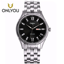 ONLYOU Fashion Dress Mechanical Watch Man Watches Silver Stainless Steel Band 10Bar Waterproof Women Watches 2017 Montre Homme