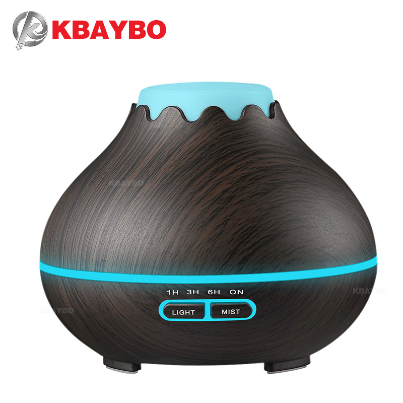 400ml Dark Wood Grain Ultrasonic Aroma Cool Mist HumidifierEssential Oil Diffuser for Office Bedroom Baby Room Study Yoga Spa