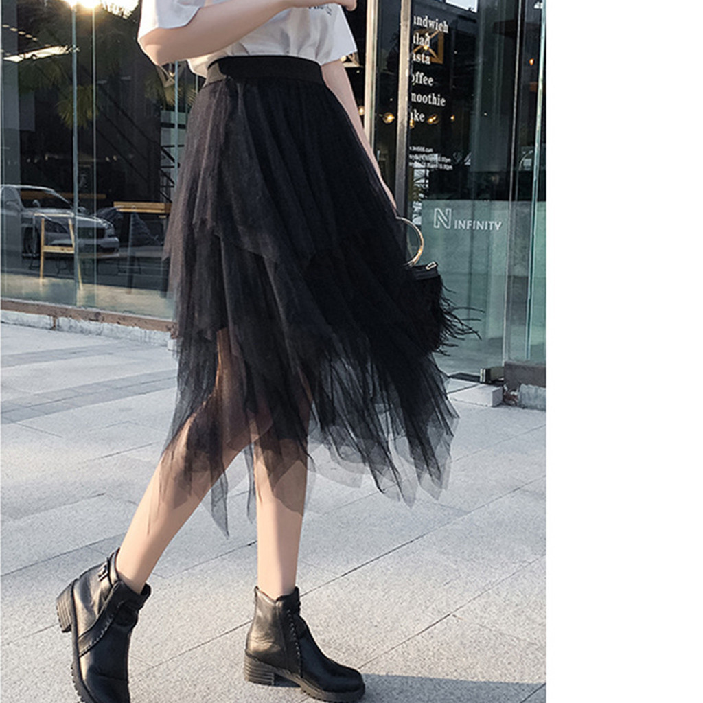 Women's Skirt Long Net Mesh Skirt High Waist Tutu Skirt Irregular Long Skirt Spring Women Fashion Skirts 2019 Jupe Femme Faldas