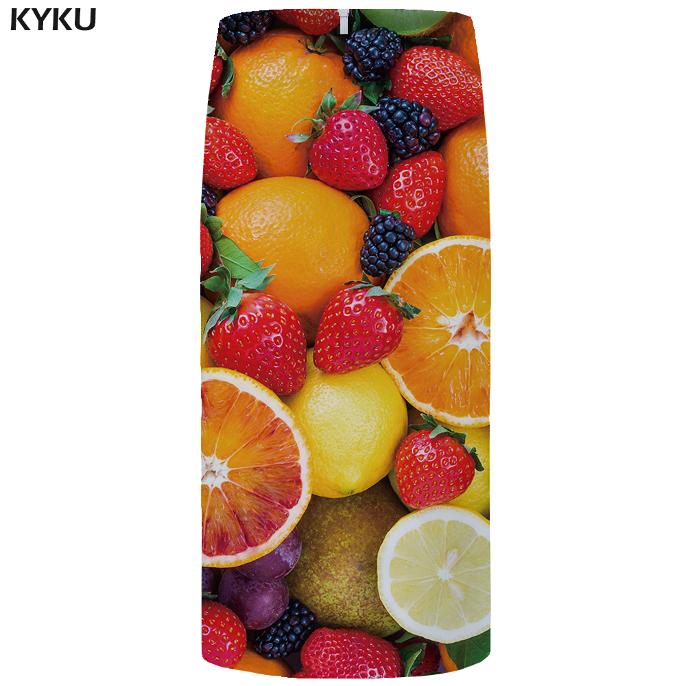 Kyku Fruit Skirs Women Orange Ol Party Skirt 3d Print Gothic Summer Colorful Sexy Womens Skirts Knitted Japanese Fashion Ladies