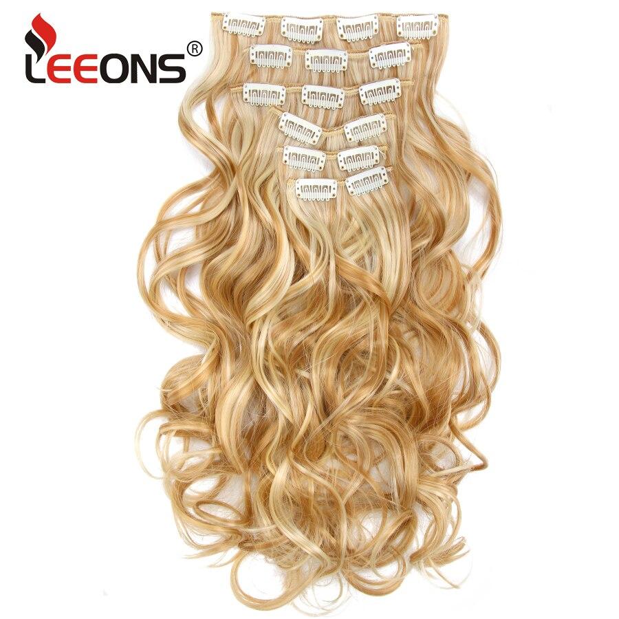 Hot Sale Leeons 16clips 22inch 55cm 140g Long Body Wave Women Clip
