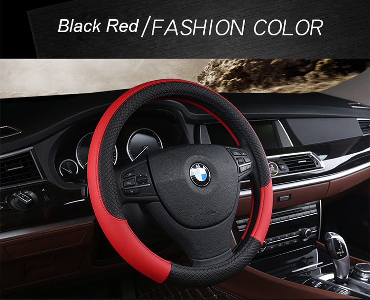"Universal Artificial Leather Car Steering Wheel Cover Black Anti-slip 38cm 15/"""