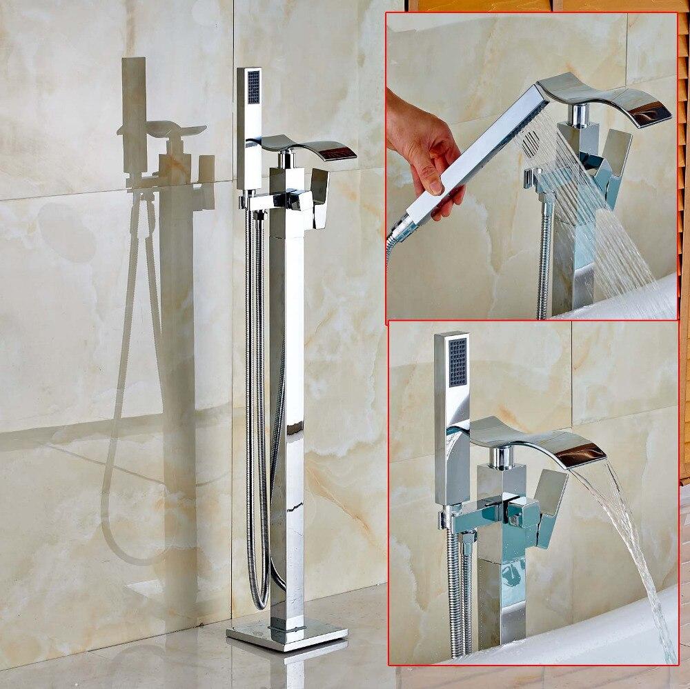 Стоящие водопад Ванная комната ванной кран хромированная Латунь смесителя W/ручной душ