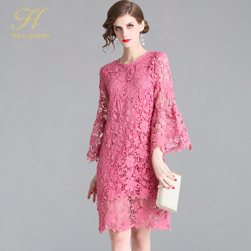 H Han Queen Women Summer Hollow Out Pink Lace Party Dress Vestidos Ladies Fashion Elegant Female Flare Sleeve Sexy Dresses