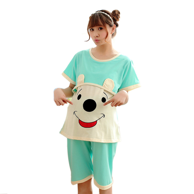 Costumes for home Summer women's clothing suits nightie for nursing mothers blouse breastfeeding Cotton Pajamas Shirt pants bear