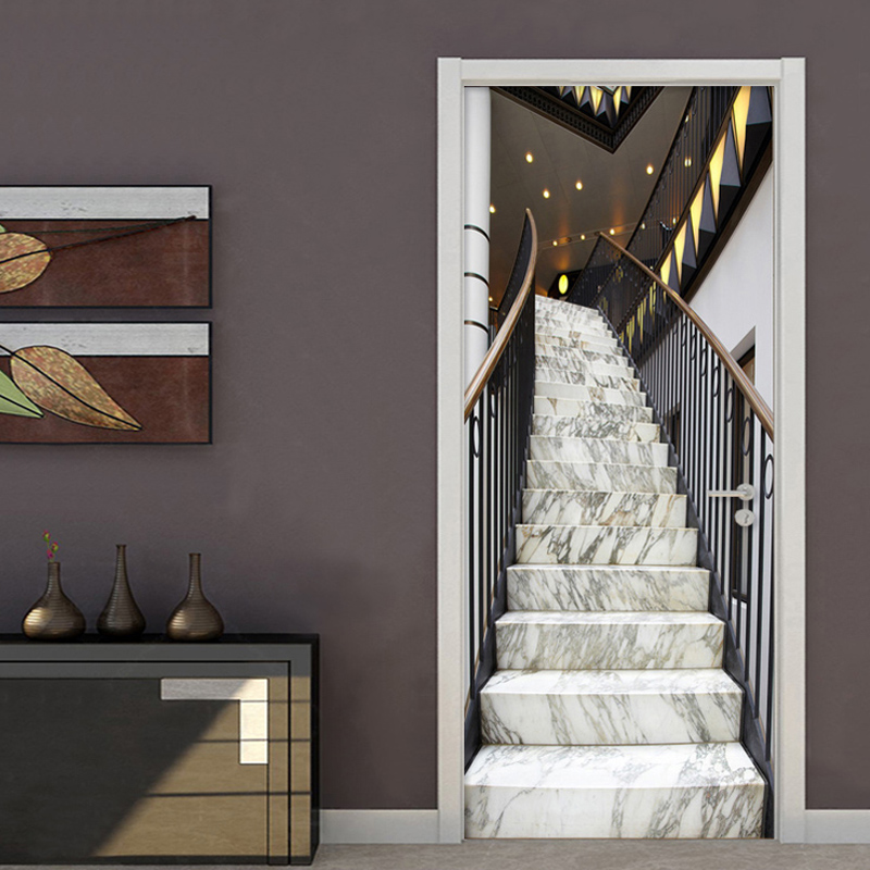 Modern Creative 3D Stereo Marble Stair Door Sticker Living Room Hotel PVC Self-Adhesive Waterproof Wallpaper Home Decor Stickers