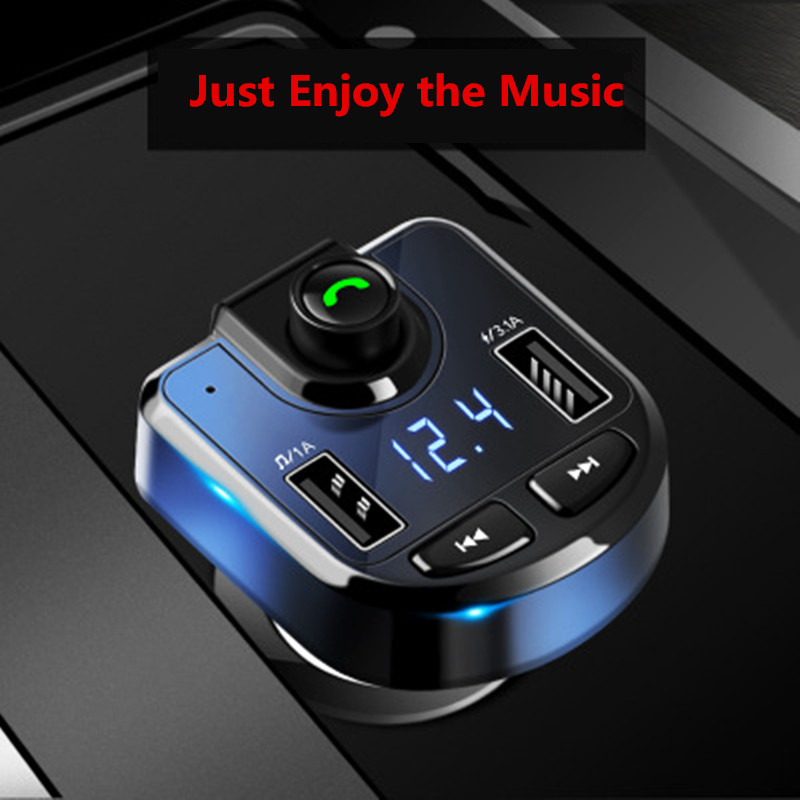 3.1A Handsfree Bluetooth Car Kit Dual USB Phone Fast Charger FM Transmitter Stereo Audio MP3 Music Receiver Bluetooth Adapter TF