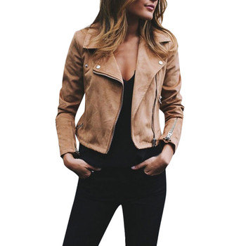Womens PU Leather Short Jacket Autumn  Fashion Moto Biker Solid Long Sleeve Open Placket Ladies Crop Jackets #BF pajamas