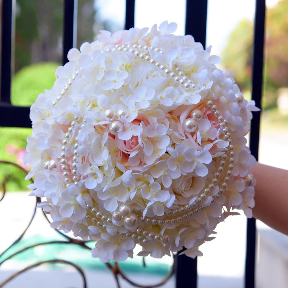 Silk Hydrangea Flower Bouquet Pearl Artificial Rose Bridal Bouquets