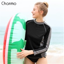 Charmo Women Rash Guard Shirt Long Sleeve Quick-drying Rashguard Running Shirts Biking Shirt Color block Surfing Top UPF 50+ color block long sleeve applique shirt
