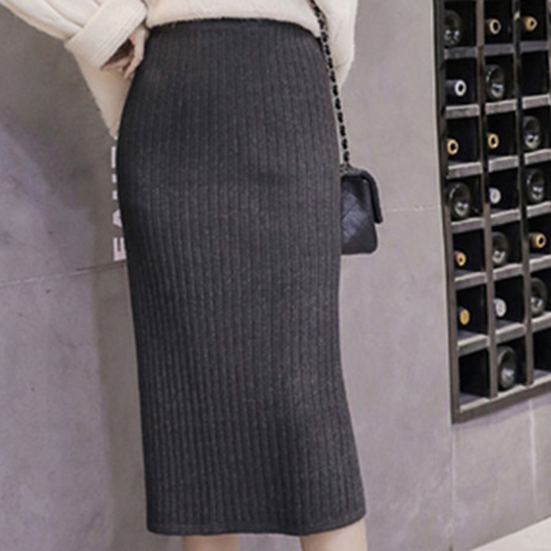 Autumn Ladies High Waist Long Knitting Skirts Women Solid Package Hip Pencil Skirts Korean Ulzzang Female Split Long Skirts