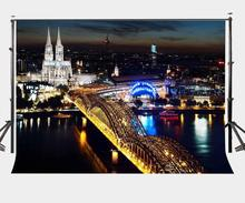 150x220cm City Night View Backdrop Cologne Cathedral Photography Background Studio Props