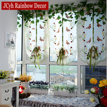 Butterfly Tulle Roman Curtain For Living Room Bedroom Window Embroidered Curtain For Kitchen Sheer Curtain Screening Panel butterfly print sheer tulle window curtain
