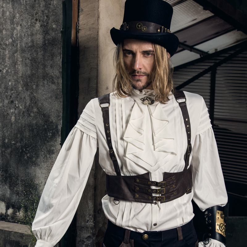 Steampunk Vintage hommes Faux cuir gilet Design Unique Rock Punk Rivet laçage gilet sans manches gilets