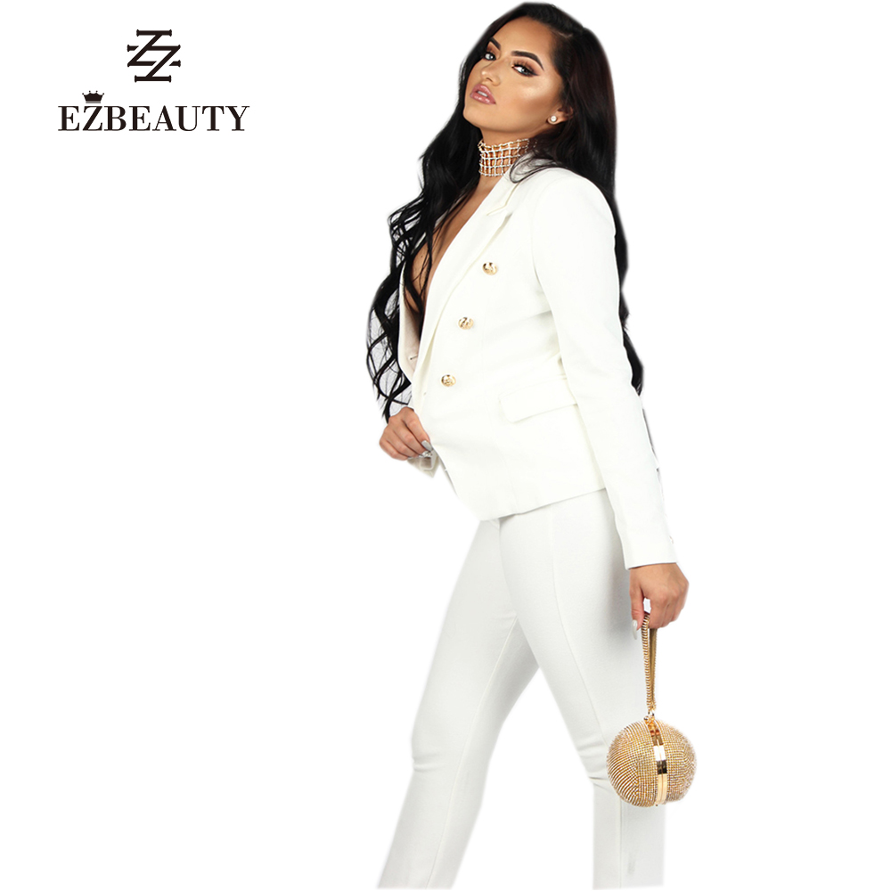 Spring Fashion White Pant Suit Women Long Sleeve Set