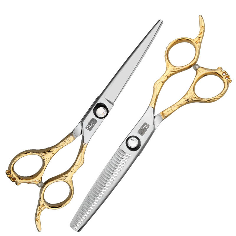 60 440C Professional Hair Scissors Set haircutting Scissors Good Quality Cold Moon High-Grade Hairdressing Scissors Hair Stylist(China)