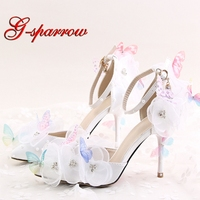 2018 New Design White Color Flower Lace Butterfly Bridal Wedding Shoes Pointed Toe Round Toe Party Prom Pumps with Ankle Straps