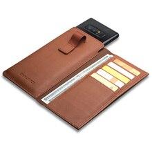 QIALINO funda de estilo empresarial para Samsung Galaxy Note 9, billetera de cuero genuino hecha a mano, funda con ranura para tarjetas para Samsung Note 8