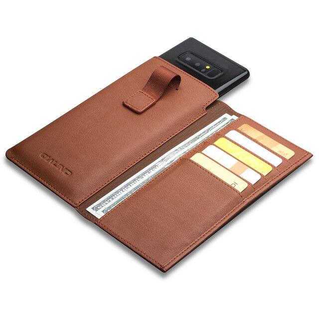 Qialino estilo de negócios caso para samsung galaxy note 9 artesanal couro genuíno carteira bolsa slot para cartão capa para samsung nota 8