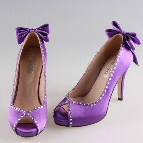 6cf56b0ed6695a Creativesugar Main noir violet pourpre doux arc strass ouvert peep toe femme  nuptiale de noce de bal plate-forme chaussures talon